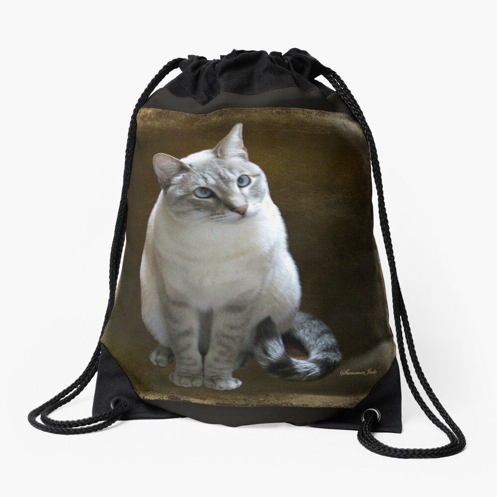 Lilac Point Siamese ~ Old Blue Eyes Drawstring Bag