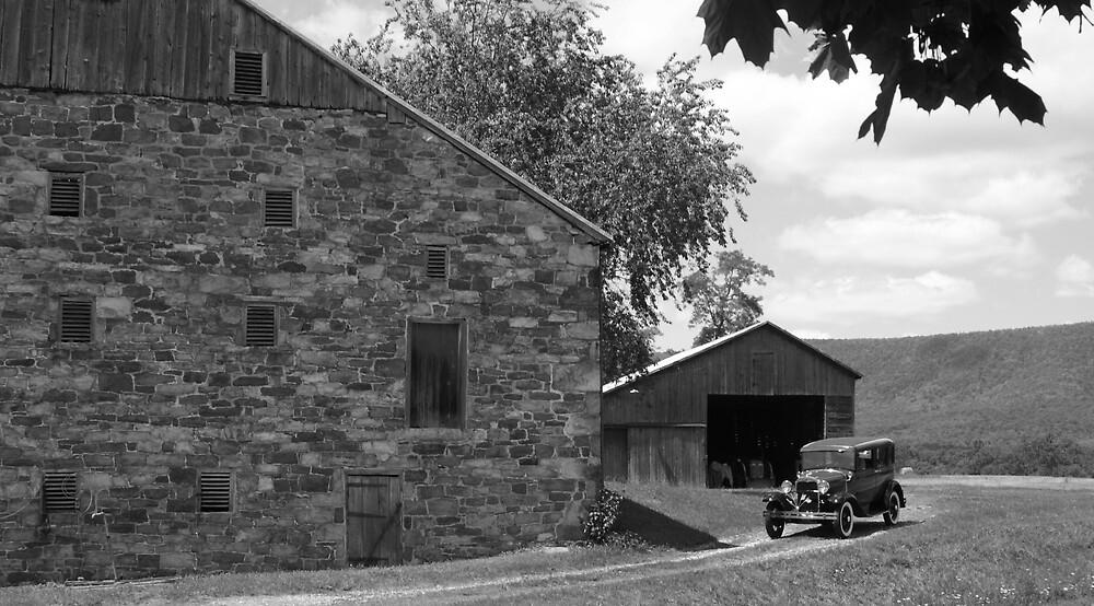 Barn & Model A by Cassy Greenawalt