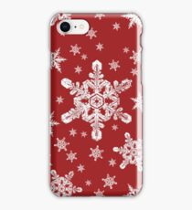 Snowflakes in White + Red | 'Tis the Season Series iPhone Case/Skin