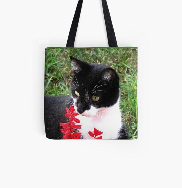 Tuxedo Cat in Garden  All Over Print Tote Bag