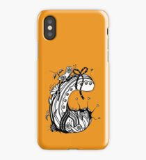 The Letter C Alphabet Aussie Tangle in Black and White Transparent Background iPhone Case/Skin