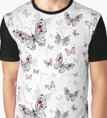 Seamless Pattern of Gray Butterflies Graphic T-Shirt