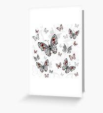 Seamless Pattern of Gray Butterflies Greeting Card