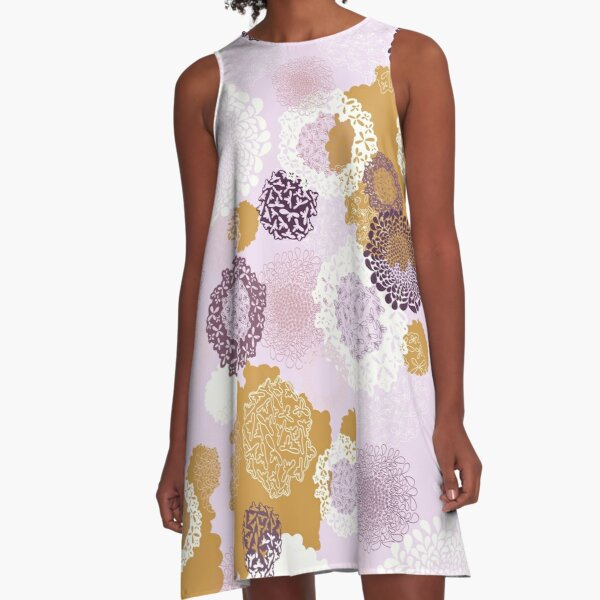Doily Flowers in Purple, White and Mustard on Pink A-Line Dress