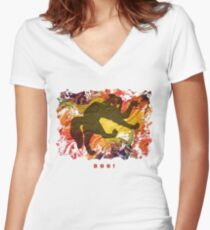 BOO! HALLOWEEN SCARY CAT Fitted V-Neck T-Shirt