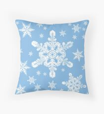 Snowflakes in White + Blue 2 | 'Tis the Season Series Throw Pillow