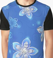 Seamless Pattern of Silver Flowers Graphic T-Shirt