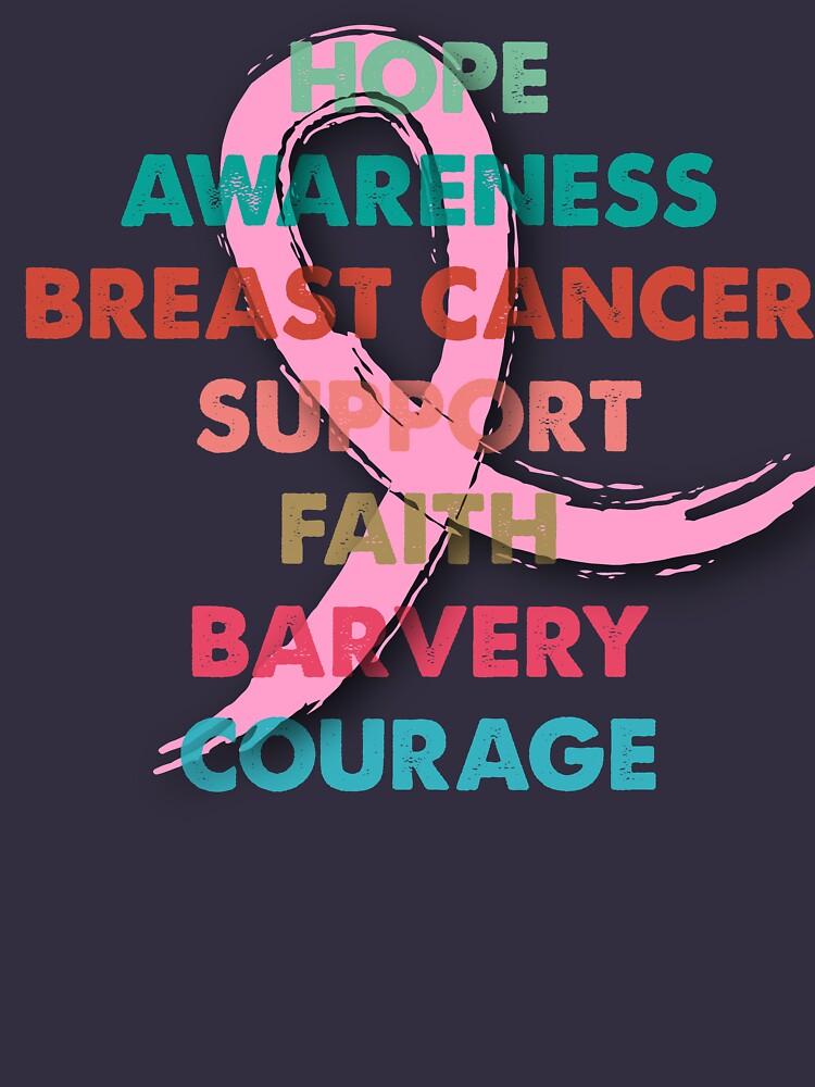 Vintage Retro colors Pink Ribbon Breast Cancer Awareness by bestdesign4u