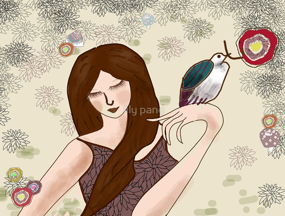 Girl and Bird by lily pang