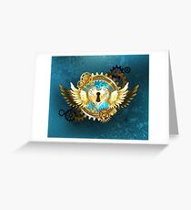 Closed Heart ( Steampunk Gold Heart ) Greeting Card