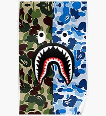 A Bathing Ape Blue Shark Poster