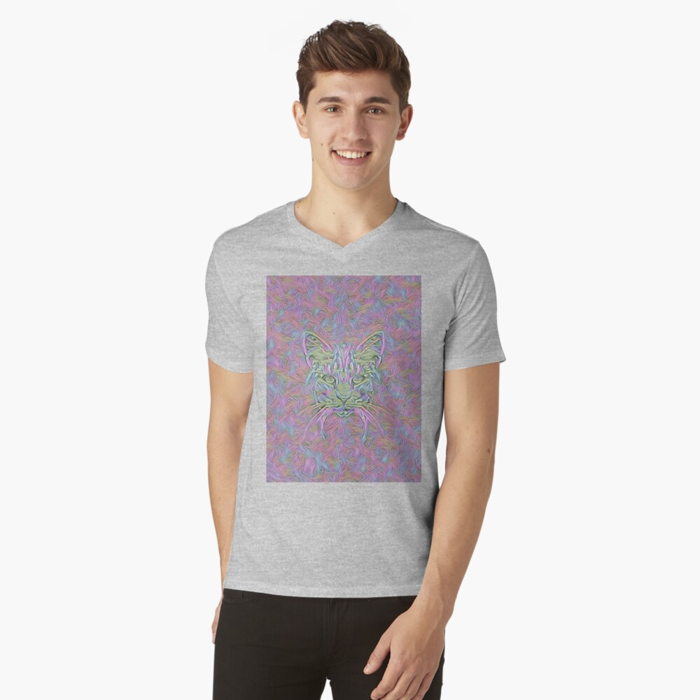 Abstract Cat V-Neck T-Shirt
