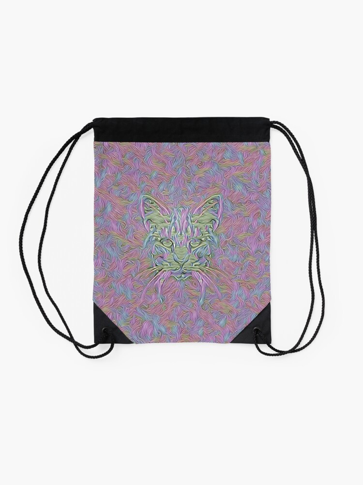Alternate view of Abstract Cat Drawstring Bag