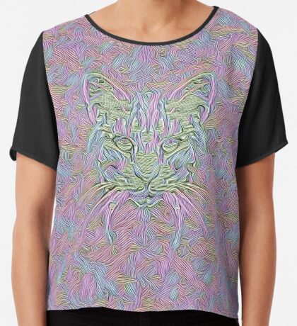 Abstract Cat Chiffon Top