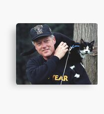 Bill Clinton With Cat. Canvas Print