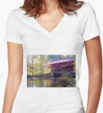 The Icons of Vermont Women's Fitted V-Neck T-Shirt