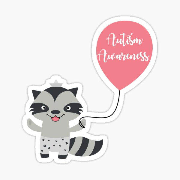 Autism Awareness Raccoon Sticker