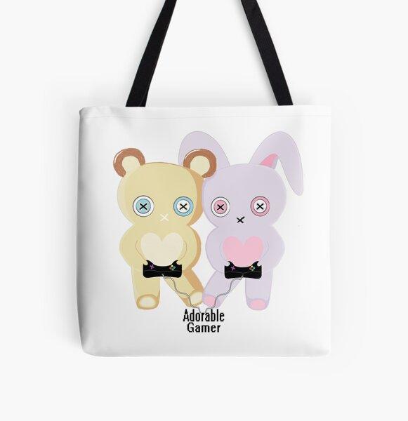 Adorable Gamer ~ Teddy & Bunny All Over Print Tote Bag