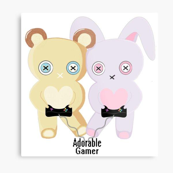 Adorable Gamer ~ Teddy & Bunny Metal Print