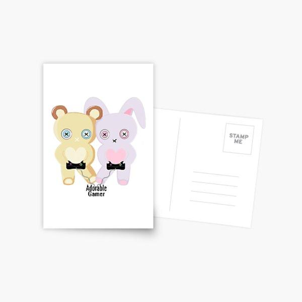Adorable Gamer ~ Teddy & Bunny Postcard