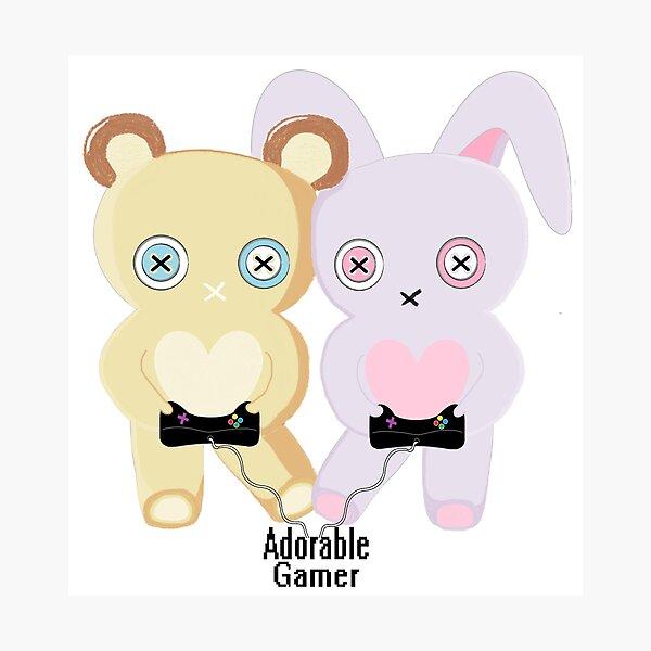 Adorable Gamer ~ Teddy & Bunny Photographic Print