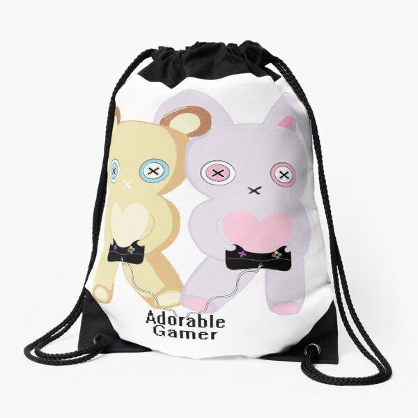 Adorable Gamer ~ Teddy & Bunny Drawstring Bag