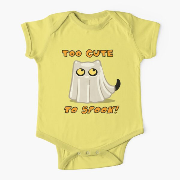 Cute Halloween Ghost Cat for Baby and Kids! Short Sleeve Baby One-Piece