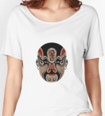 Peking Opera Facial Masks In Black And Red  Women's Relaxed Fit T-Shirt