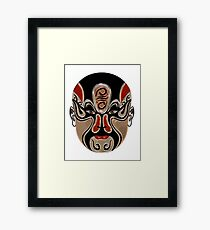Peking Opera Facial Masks In Black And Red  Framed Print