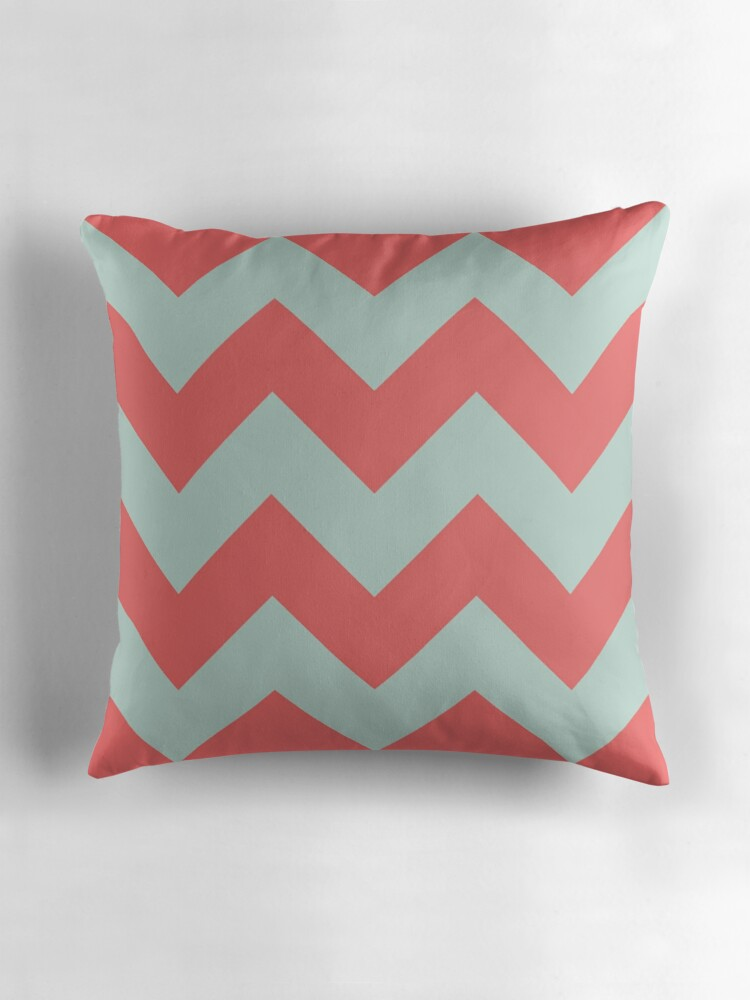 Quot Mint Green And Coral Chevron Quot Throw Pillows By Latebloom