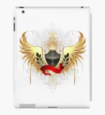 Black shield with golden wings iPad Case/Skin