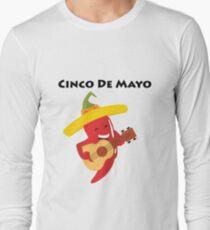 Happy Cinco De Mayo Pepper Playing Guitar Long Sleeve T-Shirt