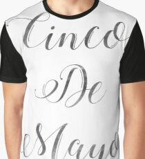 Happy Cinco De Mayo Black and white Typography Graphic T-Shirt