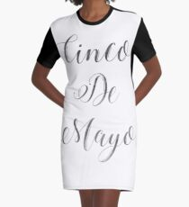 Happy Cinco De Mayo Black and white Typography Graphic T-Shirt Dress