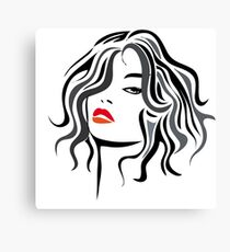 Woman vector hairstyle black design Canvas Print