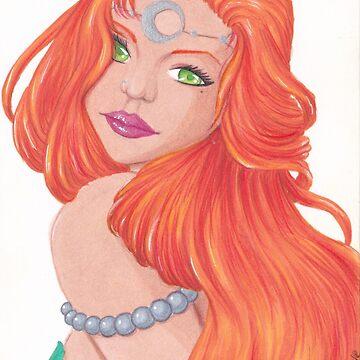 «Sirène rousse, chevelure flamboyante» par Omelia-Plude