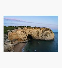 Blue Hour with a Hint of Pink at Vale Covo Sea Cave in Algarve Portugal Photographic Print