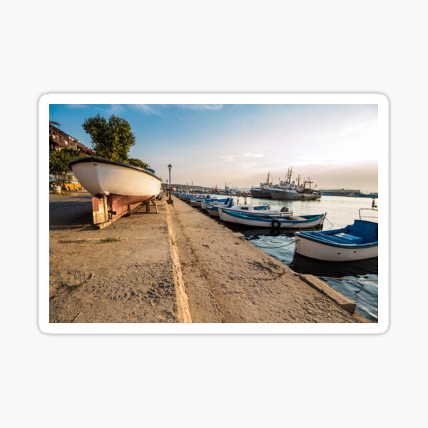 fishing boats in port of Sozopol  at sunset Sticker