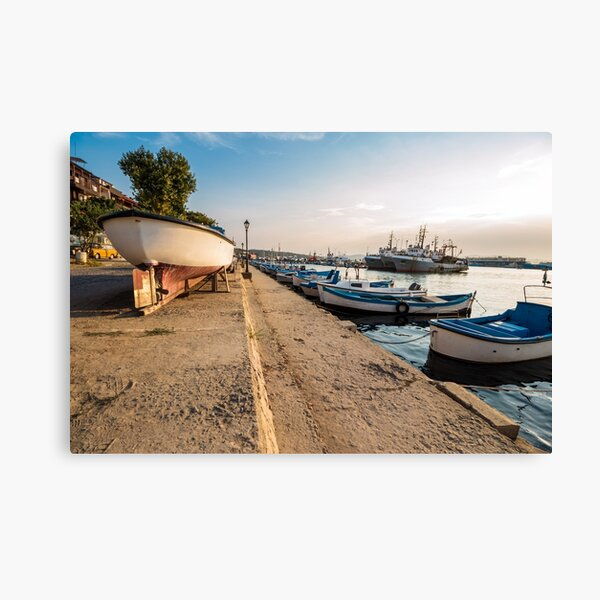 fishing boats in port of Sozopol  at sunset Canvas Print