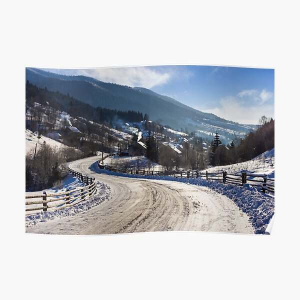 rural mountain road in snow Poster