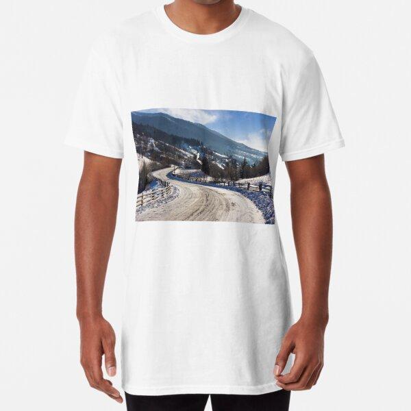 rural mountain road in snow Long T-Shirt