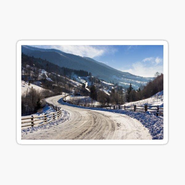 rural mountain road in snow Sticker