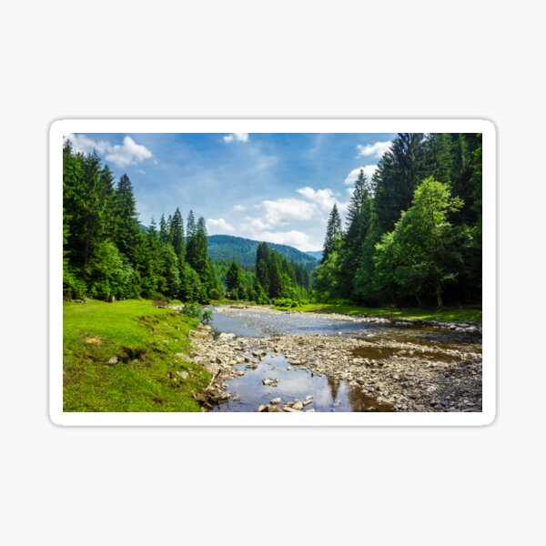landscape with mountain river Sticker