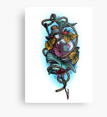Neotraditional shark and bottle Metal Print