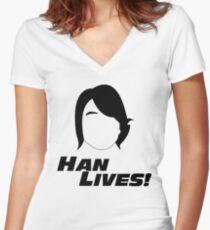 Han Lives! Women's Fitted V-Neck T-Shirt