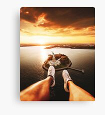 flying over the statue of liberty Canvas Print