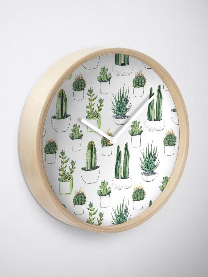 Alternate view of Watercolour cacti & succulents Clock