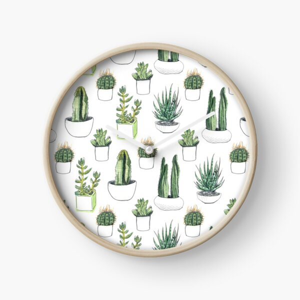 Watercolour cacti & succulents Clock