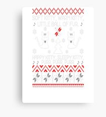 Ugly Christmas sweater for kitty lover Canvas Print