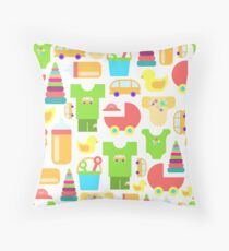 Pattern of baby goods. With the new baby! Perfect for baby shower.  Throw Pillow